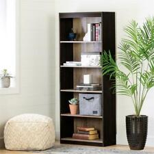 Axess 5-Shelf Bookcase-Weathered Oak and Ebony-South Shore