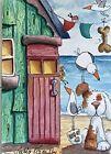 ACEO Contemporary Original Watercolour Painting Beach Hut~Dog~Ladybug~Gulls
