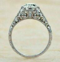 2.3Ct Diamond Antique Engagement Filigree Vintage Retro Ring 14K White Gold Over