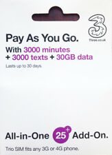 Uk three prepaid sim 30Gb+3000min roaming free for iphone Samsung ship from Us