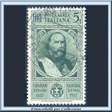 1932 Italia Regno Posta Aerea Garibaldi L. 5 + 1 verde n. A 36 Usato