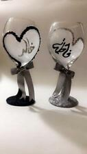 Groom & bride wedding wine glass specialize your name color and design set of 2