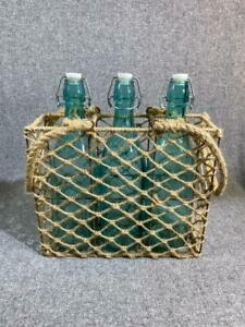 Nautical Costal Decor Bottles with Fish Net Carry Tote Ceramic Stoppers Set of 3