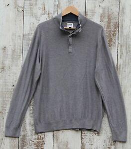 JOHN W NORDSTROM Men's Cotton Sweater Gray 1/2 Zip Mock Neck SIZE XL