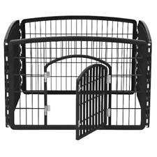 """Dog Playpen Cage With Door 24"""" Pet Accessories Heavy Duty Plastic 4 Panel Black"""