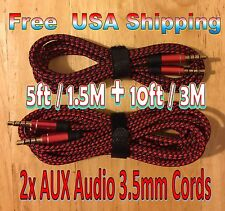 BUNDLE: 10ft + 5ft RED 3.5mm BRAIDED AUXILIARY Audio Cables Cords AUX 1.5M + 3M