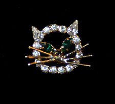Cat Face - Green Eyes Crystal Jewelry Pin