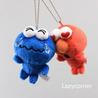 Cute Sesame Street Elmo & Cookie Monster Plush Keychain Stuffed Doll Toy Pendant