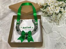 REAL LUCKY HORSESHOE LUXURY SILVER & GREEN with BLACK CAT CHARM    GOOD LUCK