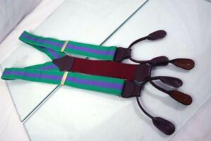 Paul Stuart Stripe Purple Green Mens Luxury Leather Adjustable Suspender Braces