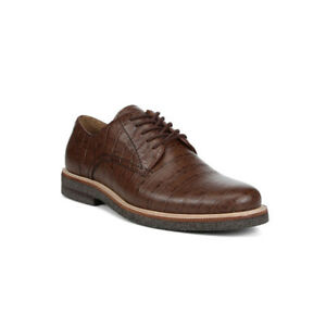 DONALD PLINER LANCE Walnut Croc Embossed Derby Shoes SZ 8 M NEW