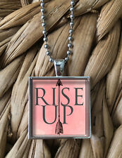 Rise Up Women's Rights Civil Pride Feminism Glass Pendant Silver Chain Necklace