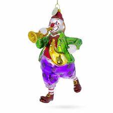 Clown Playing Trumpet Glass Christmas Ornament
