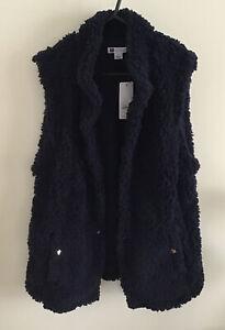 Rockmans Navy Blue Shearling Fleece Gilet Vest Sz 12 NWT