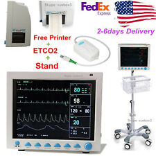 Portable Vital Signs ICU Patient Monitor 7 Parameter+Capnograph CO2+wheel Stand