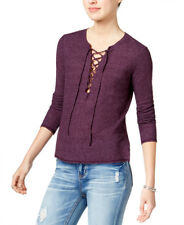 CHELSEA SKY $68 NEW 19695 Long-Sleeve Lace-Up Knit Womens Top M