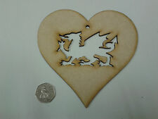 10 x Laser Cut Wooden Heart Craft Shapes 150mm with Welsh Dragon Cut Out 3mm MDF