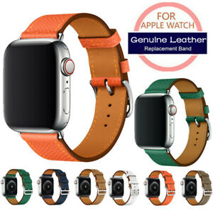 For Apple Watch 4 3 2 1 38/40/42/44mm Thick Grain Real Leather Watch Strap Band