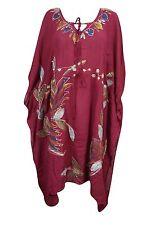 Boho Chic Maroon Caftan Printed Kimono Sleeves Women's Ethnic Beach Cover Up XXL