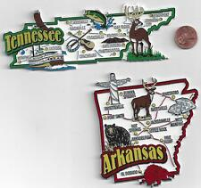 TENNESSEE and ARKANSAS  STATE JUMBO MAP  MAGNETS  7 COLOR  NEW USA  2 MAGNETS