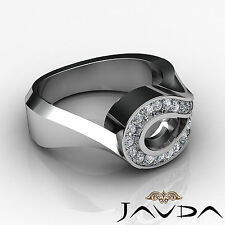 Oval Semi Mount Diamond Engagement Unique Ring 14k W Gold Halo Pave Set 0.5Ct
