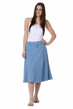 Calf Length Denim A-line Casual Skirts for Women