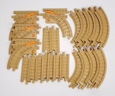 GeoTrax Lot of 22 Tan Brown Track Pieces Curved Straight and Switch Tracks