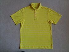 Men's NIKE Golf Dri-Fit Yellow Striped Short Sleeve Polo Shirt - Size S