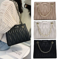 Women Quilted Shoulder Handbag Pleated Tote Crossbody Bag Chain Messenger Purse