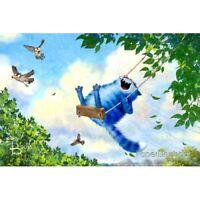 Modern Russian Postcard Gift  Swing Blue Cats Kitty Kitten Unposted Art Zenyuk