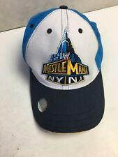Wrestle Mania NY NJ 2013 Wrestling Blue Strapback Hat Cap