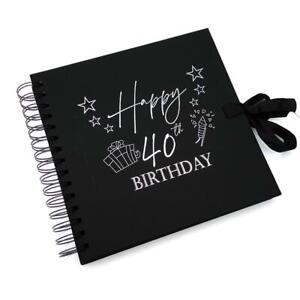 40th Birthday Present Black Scrapbook, Guest Book, Photo album silver Script