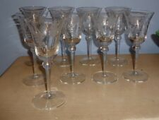 """(9) Vintage Barware Etched Design Wine Glasses 7.25"""" Tall Excellent Condition"""