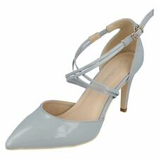 F10551 LADIES CROSS OVER STRAPS SMART HEELS POINTED COURT SHOES ANNE MICHELLE