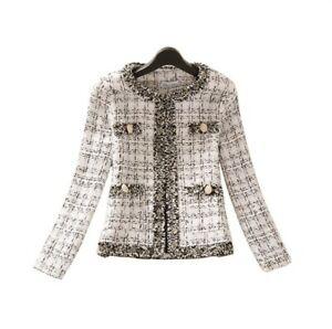 Women's Faux Tweed Short Coat Slim Fit Round Neck Temperament OL Blazer Jacket L