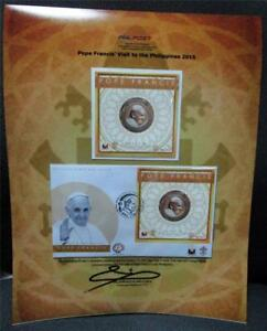 SET OF 2 2015 POPE FRANCIS VISIT PHILIPPINES FOLDER Stamp SS +FDC SIGNED