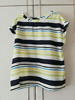 NEXT WOMENS WHITE GREEN YELLOW BLUE STRIPED BLOUSE TOP SIZE 12 SHORT SLEEVE