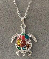 925 Silver Filled MulticolorTurtle Pendant on a 18'' Chain
