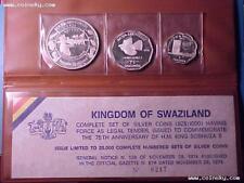 SWAZILAND 5, 7.5, 15 Emalangeni 1974 Silver Proof Set Rare