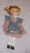 """Nib Blond Navy White Pinafore Dusty Rose Dress Porcelain Doll 16"""" With Stand"""