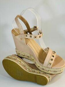Linzi Women's Sandals Strappy Studded Wedges Braided Trim Size 7 Uk / 40 Eur
