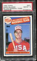 1985 Topps Baseball #401 MARK McWIRE Team USA RC ROOKIE PSA 8 NM-MT