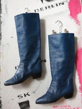 Damenstiefel Lederstiefel BLAU selten echt Leder 90er TRUEVINTAGE 90s boots 38