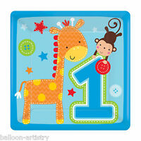 8 Wild Fun To Be One Blue Boy's 1st Birthday Party Disposable 18cm Paper Plates