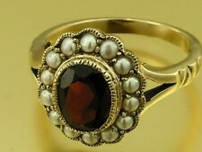 s1240 Genuine 9ct Yellow Gold NATURAL Oval Garnet & Pearl Cluster Ring size N