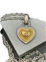 Vintage Necklace Pendant Silver and gold Detailed heart with center Stone 18""