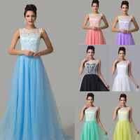 Long Lace Tulle Wedding Bridesmaid Formal Ball Evening Prom Gown Party Dresses