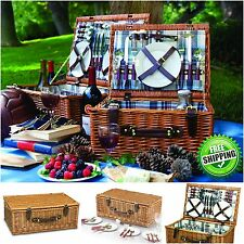 Picnic Time Picnic Basket Set Deluxe Service for 4 Person Outdoor Travel Camping