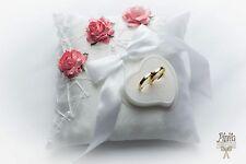 ANELLO Nuziale cuscino, di fidanzamento CUSTODIA, Corallo#P32, Cuscino Annea