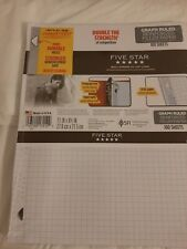 100 Sheets Mead / Five Star Graph Ruled Reinforced  Filler Paper Factory Sealed